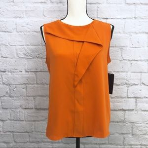 NWT Zara Button Back Ruffle Sleeveless Orange Top